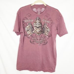 Affliction Women's Crusader Maroon Tee Large